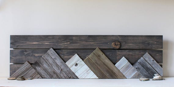 Large wooden mountain art rustic decor reclaimed wood wall