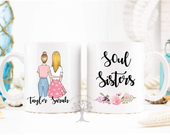 Soul Sister Mug, Personalized Best Friend Gift, Sister Mug, Sister Coffee Cup, Sister Gift, Best Friend Mugs, Coffee Mug, Best Friends.