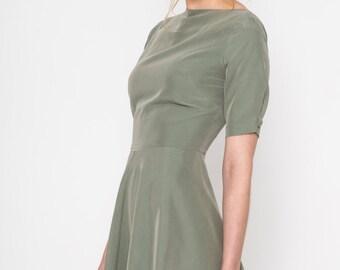 Back Buttons Dress (green) / Buttons Dress / Skater Dress / Green Dress / Vintage Dress/ Retro dress