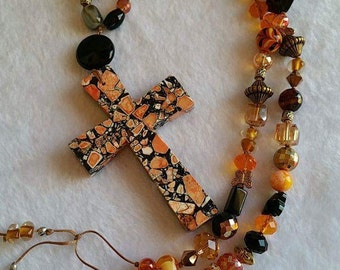 Orange and Black Cross Pendant Bohemian Gypsy One of a Kind Necklace Semi precius Gemstones Chinese Crystals Agate Brown Black Gold