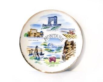 Montana Collectible Souvenir Plate, Glacier National Park by BigMuddyVintageShop