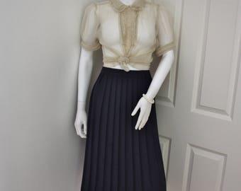 Pleated skirt, navy blue pleat skirt, plus size skirt, pleated midi skirt, preppy skirt, 1990's clothes, vintage skirt,dark blue skirt