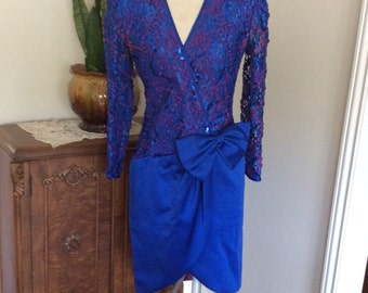 Vintage Lisa Michaels 1980's Royal Blue Party Dress Size Small