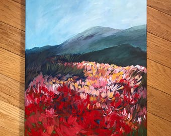 Acrylic Landscape painting, California landscape, original art, acrylic painting, poppy field, landscape art, painting of mountains