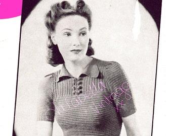 Ladies 1940s Short Sleeve Jumper/Sweater Knitting Pattern PDF Instant Download