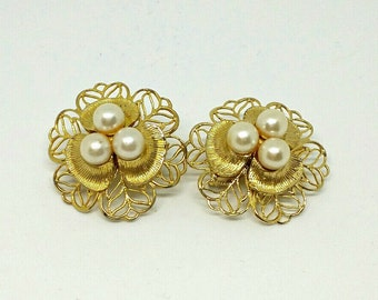 Vintage Scarf Slides Pat Pend Pre 1955 Gold Tone and Pearls