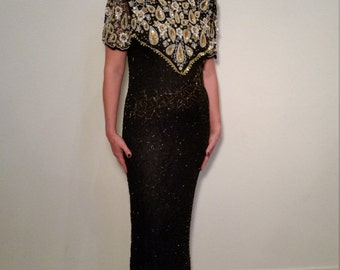 SALE Vintage 1980s Laurence Kazar Black Silk Beaded Dress. New Year's Eve. Formal Ballgown. Floor Length. Size Large