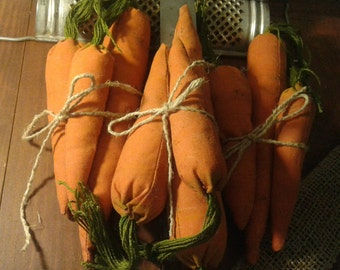 Primitive Carrots - Set of 3 - Primitive - Rustic - Fabric - Carrots - Fake Eatables - Cinnamon - Handmade - Hand Painted - Bowl Fillers -
