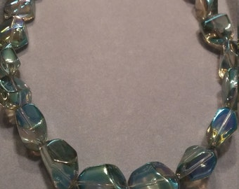 Clear Iridescent Glass Beaded Necklace