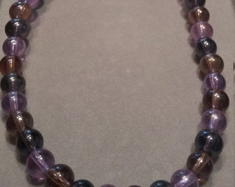 Purple Mix Glass Beaded Necklace