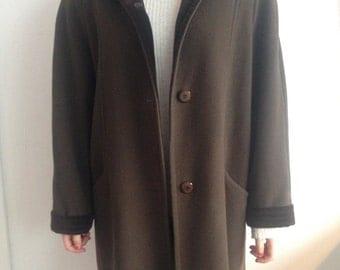 70s Vintage Brown Velvet Fancy Long Big Coat