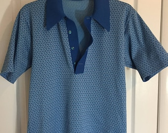 1970s Blue Polo sport shirt with white and blue swirl design