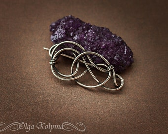 Silver brooch Celtic shawl pin Wire wrapped brooch gift for her OOAK