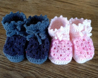 Granny-square baby boots (6 months)