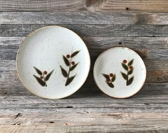 Set of 4 Vintage Otagiri Bittersweet Dinner Plates And Salad Plates, Otagiri Stoneware Plates