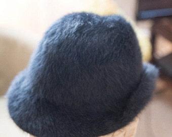 Vintage Black Marabou Hat