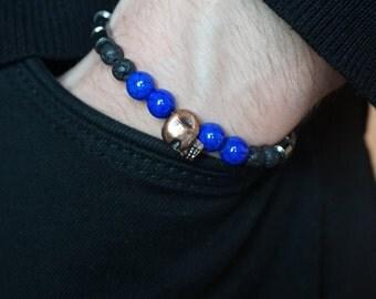Hematite bracelet, Lava bracelet, Howlite bracelet, Mens gift, Skull bracelet, Boyfriend bracelet, Gift for him, Bracelet with skull
