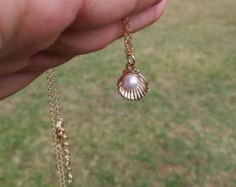 Pearl Shell Necklace, Pearl on Gold Shell, Pearl Necklace, Gold Plated Shell, Everyday Necklace