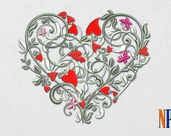 Charming heart machine embroidery design. Valentine's day embroidery. Heart. Embroidery file
