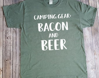 Camping Gear: Bacon and Beer shirt, camping shirt, funny camping shirt