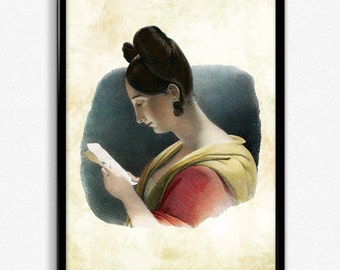 Woman Reading Color Vintage Print - Woman Reading Poster - Woman Reading Art - Woman Reading Poster - Living Room Art