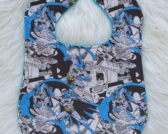 Batman comic book feeding bib for babies and toddlers