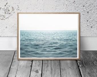 Horizon Print - Ocean Wall Art, Instant Download, Ocean Horizon, Nautical Decor, Minimalist Art, Sea Photo, Beach Decor, Blue Wall Art