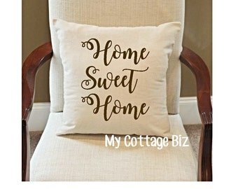 "Home Sweet Home Pillow Cover, Linen color, 18"" x 18"""