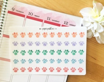 Pet Planner Stickers, Pet Paws, Watercolor Planner Stickers