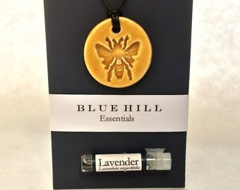 Essential Oil Necklace/Comes With 100% Pure Lavender Oil/Ceramic Jewelry/Bee Necklace/Free Gift Wrap