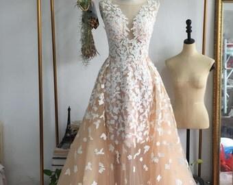 Color Wedding Dress and White petal