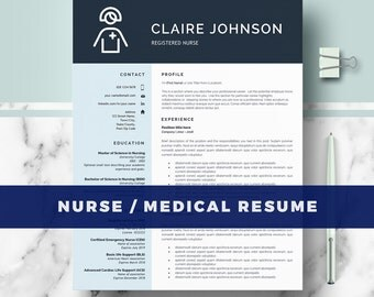 Nurse Resume Template | Doctor Resumes Template for Word & Pages; RN Nurse Resume; Medical resume Nurse cv; Digital Download nursing resume