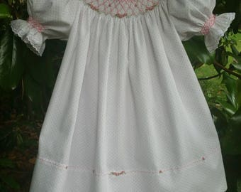 White Pique Smocked and Embroidered Bishop Dress