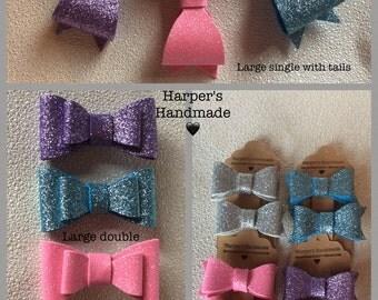 Glitter foam hair bow clip