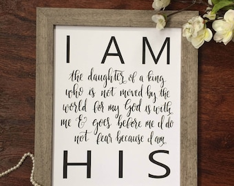 "Hand-lettered print ""I am His daughter"" INSTANT DOWNLOAD PDF"