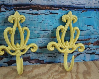 Cast Iron Decorative Scroll Wall Hook Yellow (Lot of 2)