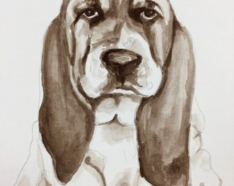 Handmade watercolor painting of the a dog
