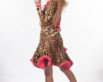 Latin Ballroom Salsa Dance Dress Costume Leopard Print Custom Made Swarovski Rhinestones