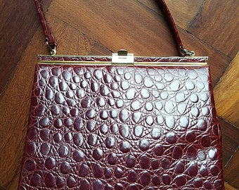 1950s Holmes of Norwich Mock Croc 'Kelly' Bag