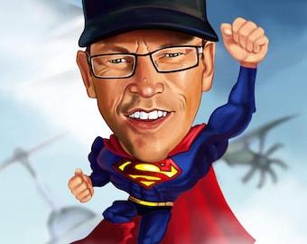 Superhero Cartoon, Caricature from photo (Full Body)