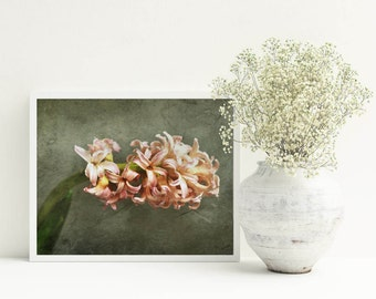 Pastel pink home decor Flowers photography Rustic wall decor Pale pink wall art Living room wall art Botanical print vintage Spring decor A3