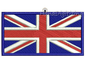 Union Jack United Kingdom Flag Machine Embroidery Design 3 Sizes