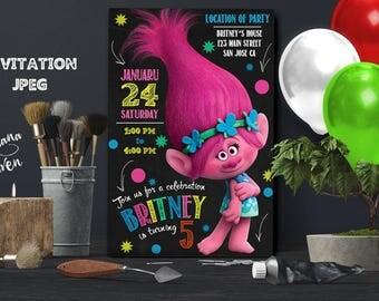 Trolls Birthday Invitation, Trolls invitation, Trolls Digital Invitation, Trolls Party, Trolls poppy, Trolls, Trolls invitations