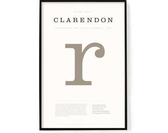 "Clarendon Poster, Screen Printed, Archival Quality, Wall Art, Poster, Designer Gift, Typography Print, 24"" x 36"""