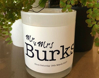 Mr & Mrs custom soy candle - Personalised candle - Wedding candle - Mr and Mrs