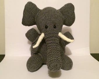 Handmade stuffed elephant, Knit toy.