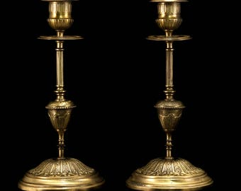 Beautiful Pair of Antique Brass Bronze Candlesticks Candle Holders 1