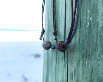 Eco Friendly Necklace Eco Friendly Jewelry Wax cord necklace Men Surfer necklace Simple necklace Mens Lava Rock Necklace Lava Stone Necklace