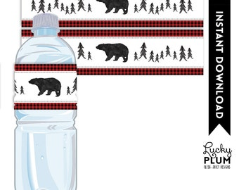 Bear Water Bottle Label / Woodland  Water Bottle Label / Bear Napkin Ring / Plaid Water Bottle Label / Lumberjack Water / DIY Printables