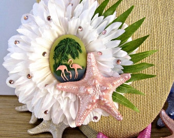 Flamingo Hair Clip, Starfish Hair Clip, Pink Tropical Hair Clip, Retro Hair Clip, Beach Hair